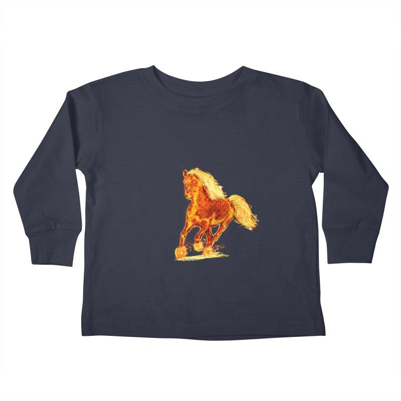 Flaming Horse Kids Toddler Longsleeve T-Shirt by nicolekieferdesign's Artist Shop