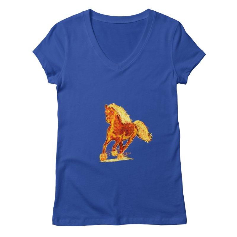 Flaming Horse Women's V-Neck by nicolekieferdesign's Artist Shop