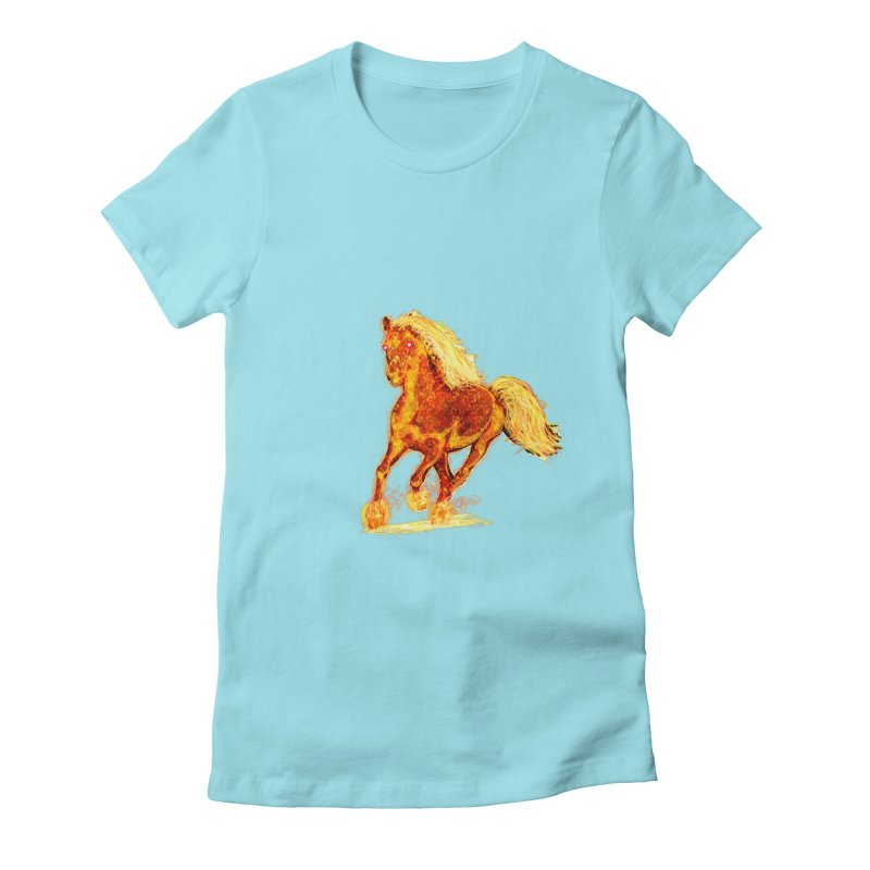 Flaming Horse Women's Fitted T-Shirt by nicolekieferdesign's Artist Shop