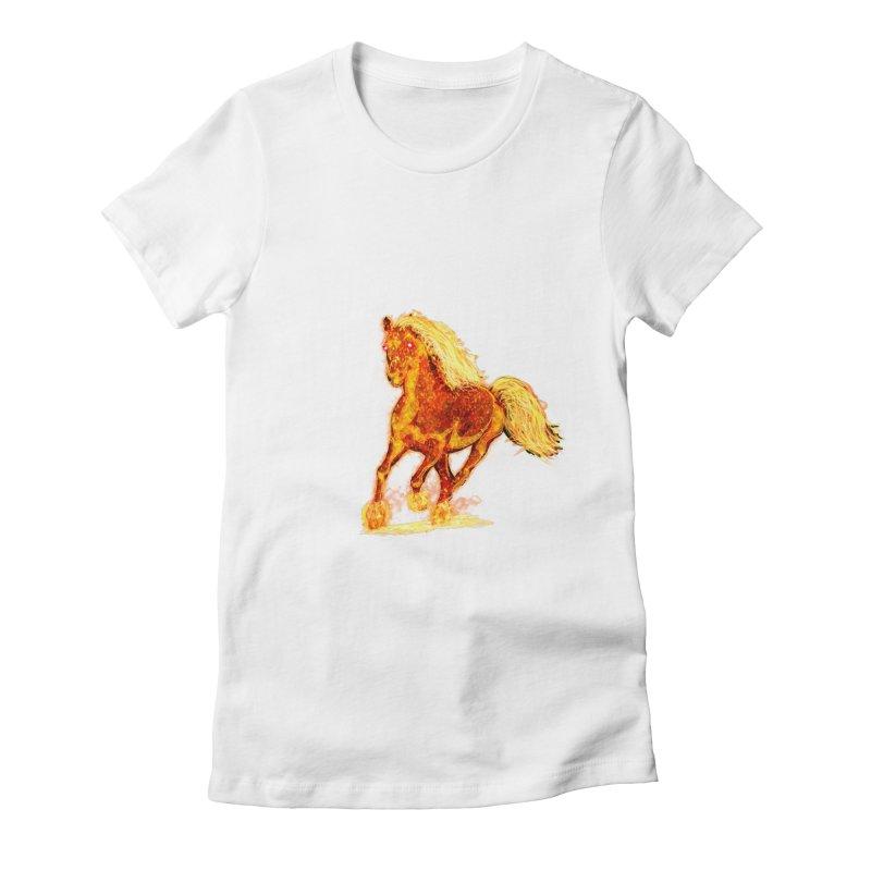 Flaming Horse Women's Fitted T-Shirt by nicolekieferdesign's Artist Shop