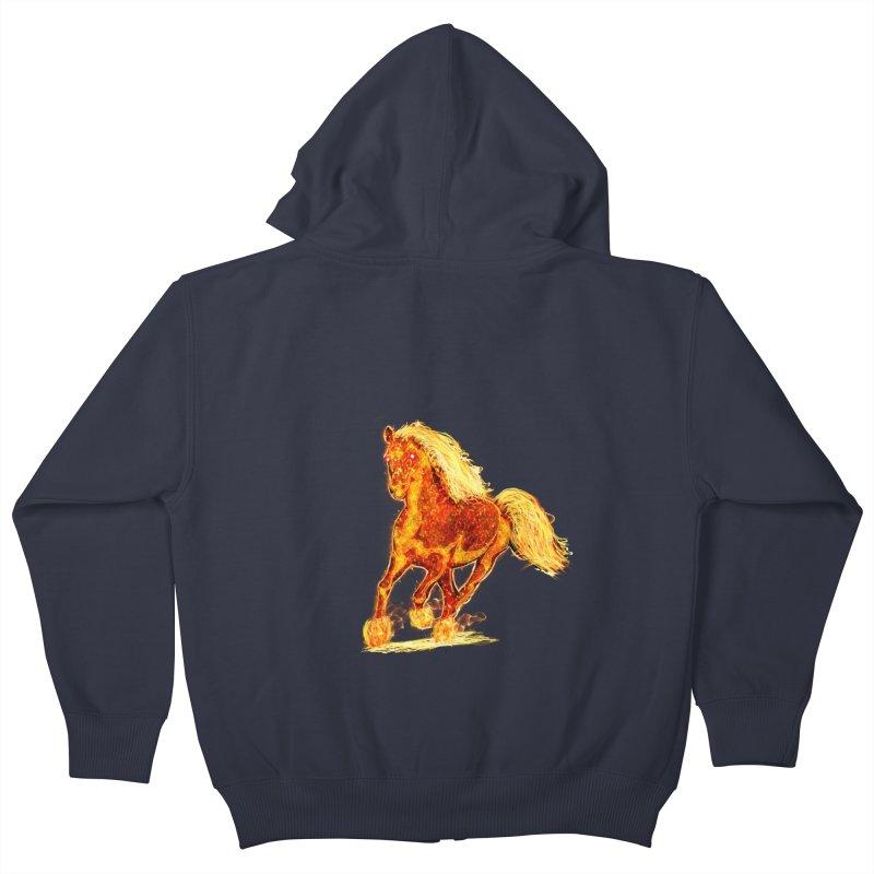 Flaming Horse Kids Zip-Up Hoody by nicolekieferdesign's Artist Shop