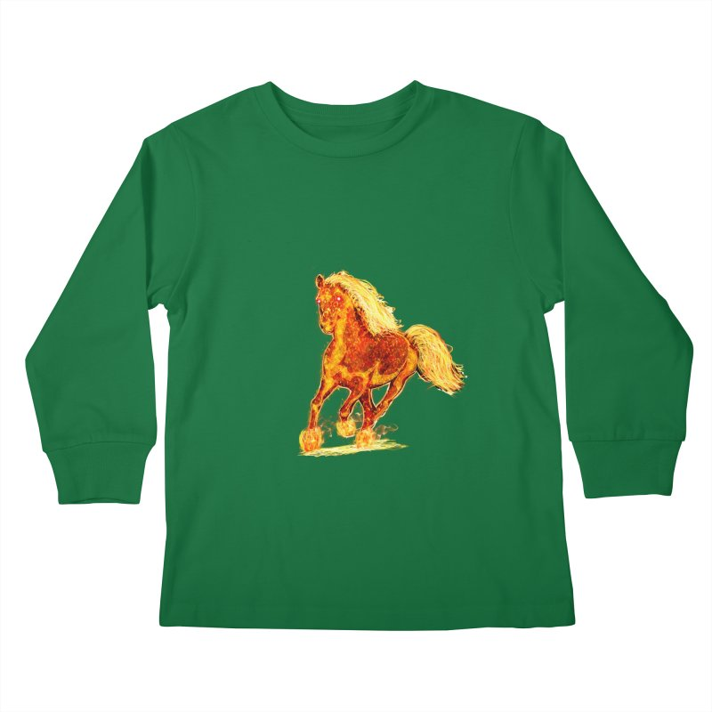 Flaming Horse Kids Longsleeve T-Shirt by nicolekieferdesign's Artist Shop