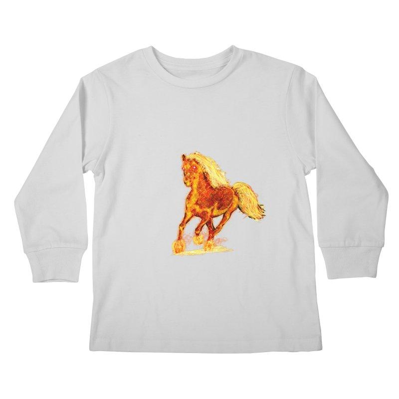 Flaming Horse Kids Longsleeve T-Shirt by nicolekieferdesign's Artist Shop