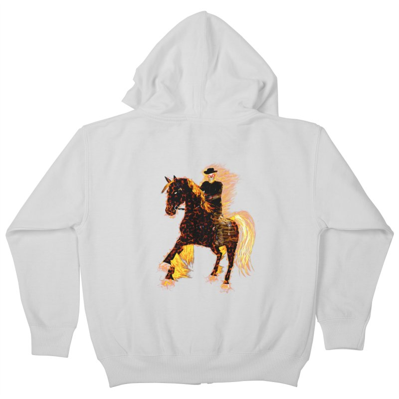 Ghost Rider on Horse Kids Zip-Up Hoody by nicolekieferdesign's Artist Shop