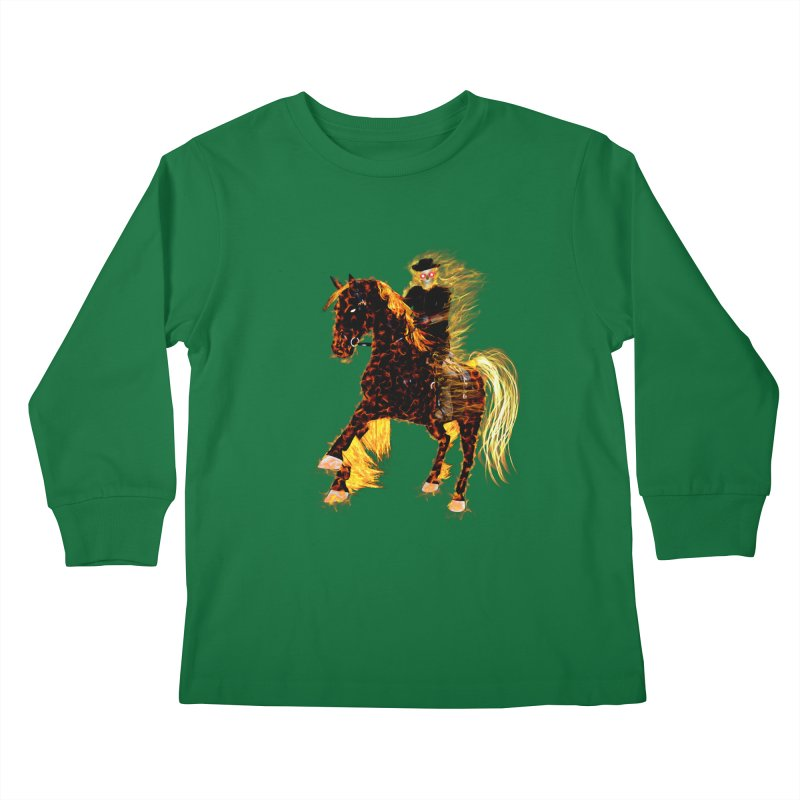 Ghost Rider on Horse Kids Longsleeve T-Shirt by nicolekieferdesign's Artist Shop