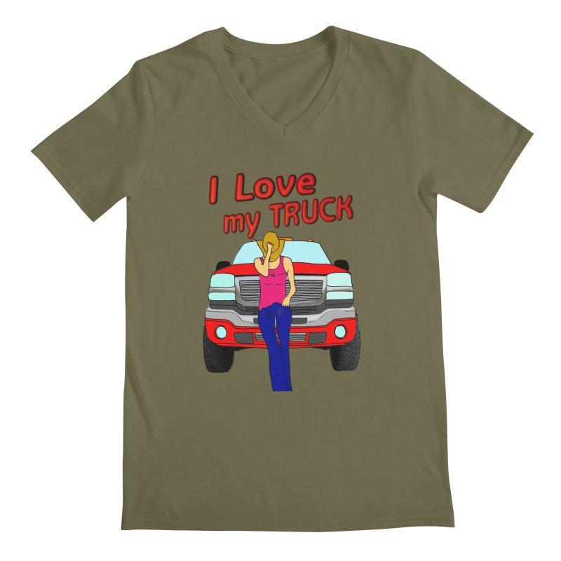 Girls love Trucks Men's Regular V-Neck by nicolekieferdesign's Artist Shop