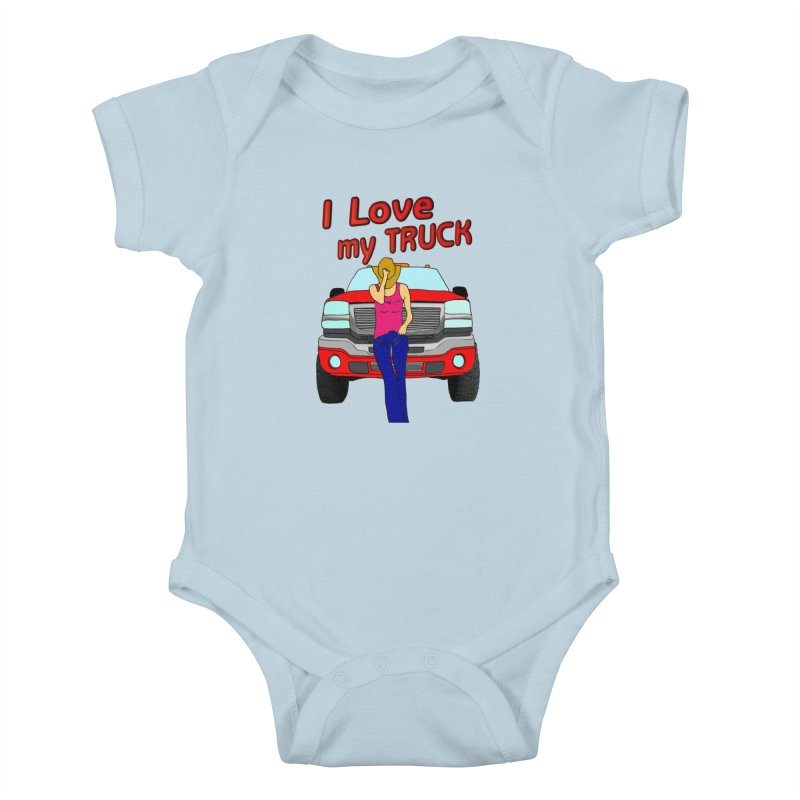 Girls love Trucks Kids Baby Bodysuit by nicolekieferdesign's Artist Shop