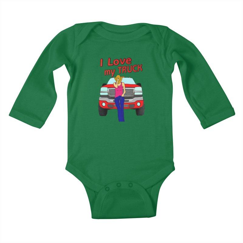 Girls love Trucks Kids Baby Longsleeve Bodysuit by nicolekieferdesign's Artist Shop