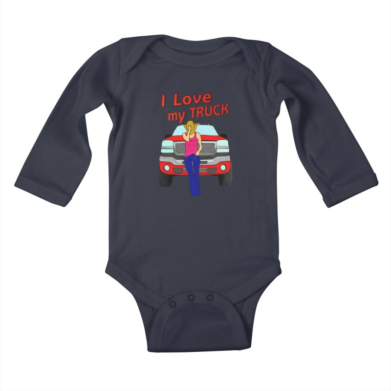 Girls love Trucks Kids Baby Longsleeve Bodysuit by nicolekieferdesign's Artist Shop