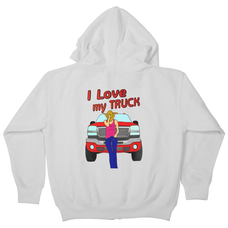 Girls love Trucks Kids Zip-Up Hoody by nicolekieferdesign's Artist Shop