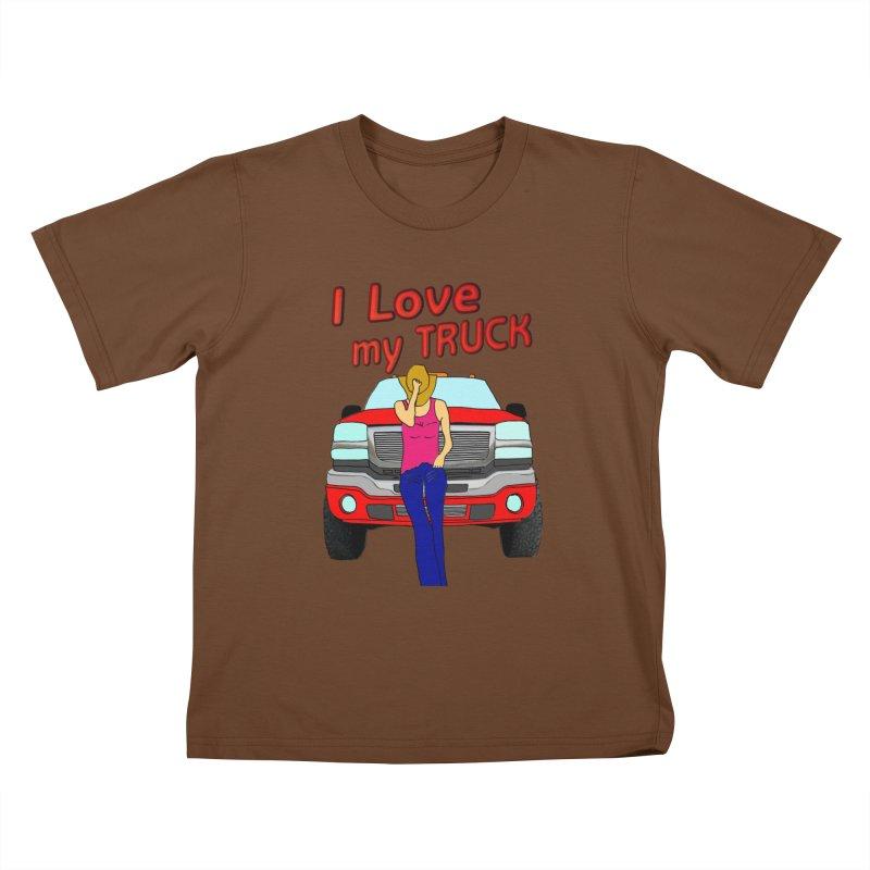 Girls love Trucks Kids T-Shirt by nicolekieferdesign's Artist Shop