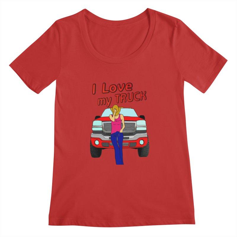 Girls love Trucks Women's Regular Scoop Neck by nicolekieferdesign's Artist Shop
