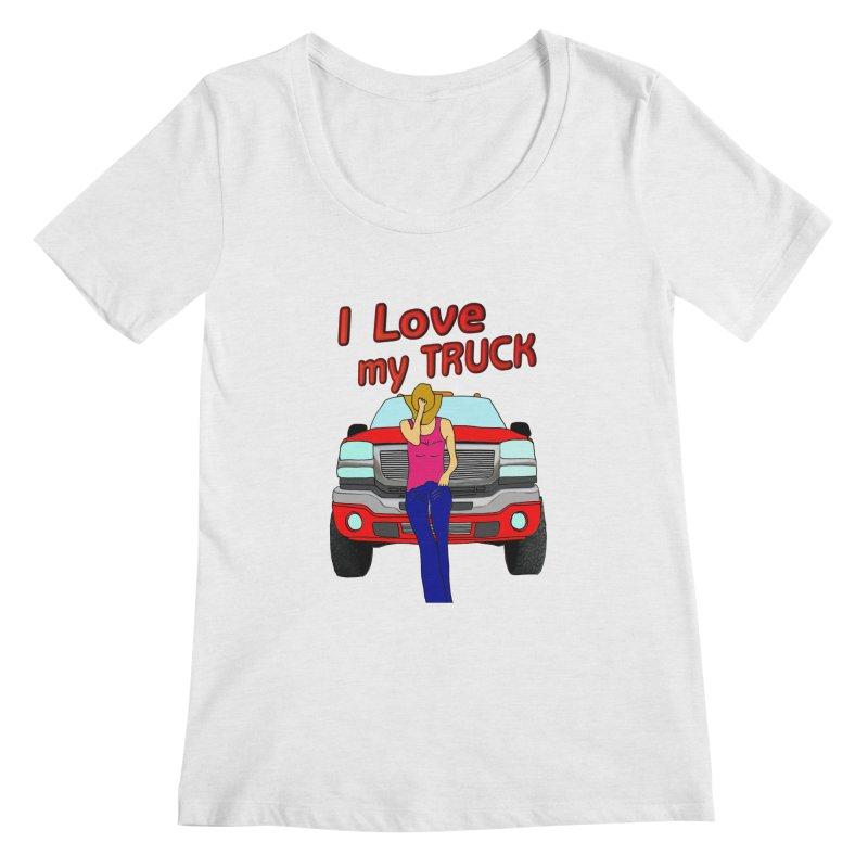 Girls love Trucks Women's Scoopneck by nicolekieferdesign's Artist Shop