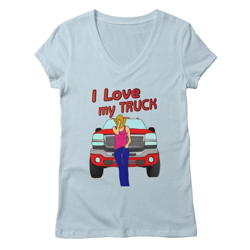Girls love Trucks Women's V-Neck by nicolekieferdesign's Artist Shop