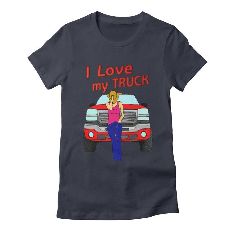 Girls love Trucks Women's Fitted T-Shirt by nicolekieferdesign's Artist Shop