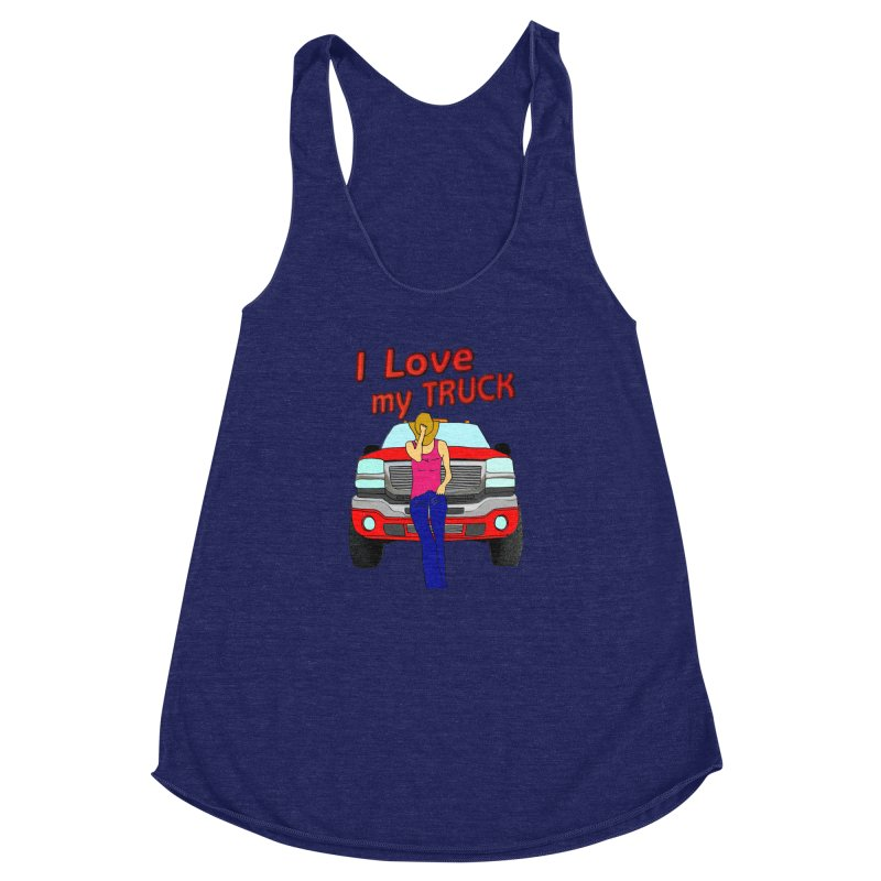 Girls love Trucks Women's Racerback Triblend Tank by nicolekieferdesign's Artist Shop