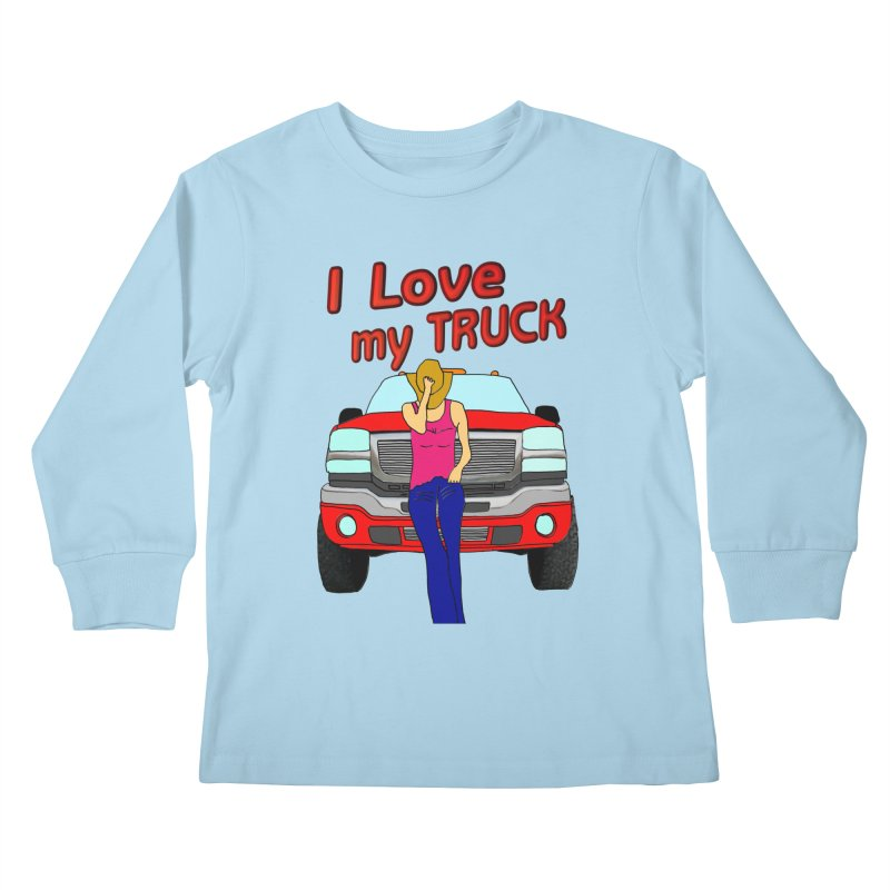 Girls love Trucks Kids Longsleeve T-Shirt by nicolekieferdesign's Artist Shop