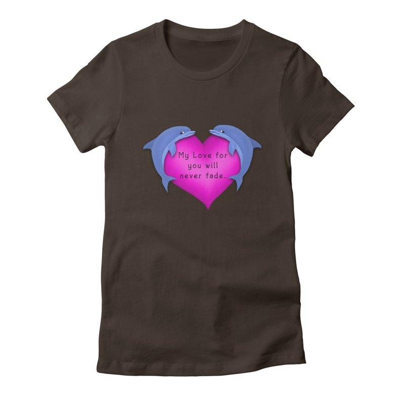 Dolphin Love Women's Fitted T-Shirt by nicolekieferdesign's Artist Shop