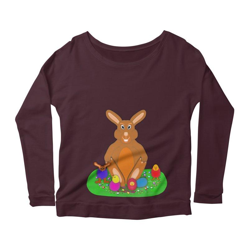 Funny Bunny Women's Longsleeve Scoopneck  by nicolekieferdesign's Artist Shop