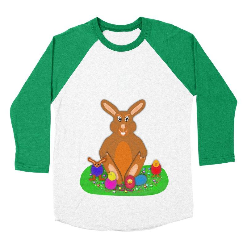 Funny Bunny Men's Baseball Triblend T-Shirt by nicolekieferdesign's Artist Shop