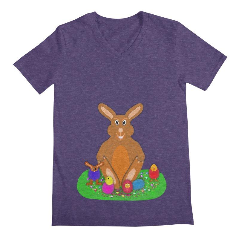 Funny Bunny Men's Regular V-Neck by nicolekieferdesign's Artist Shop