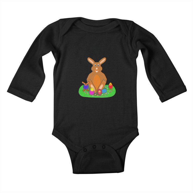 Funny Bunny Kids Baby Longsleeve Bodysuit by nicolekieferdesign's Artist Shop