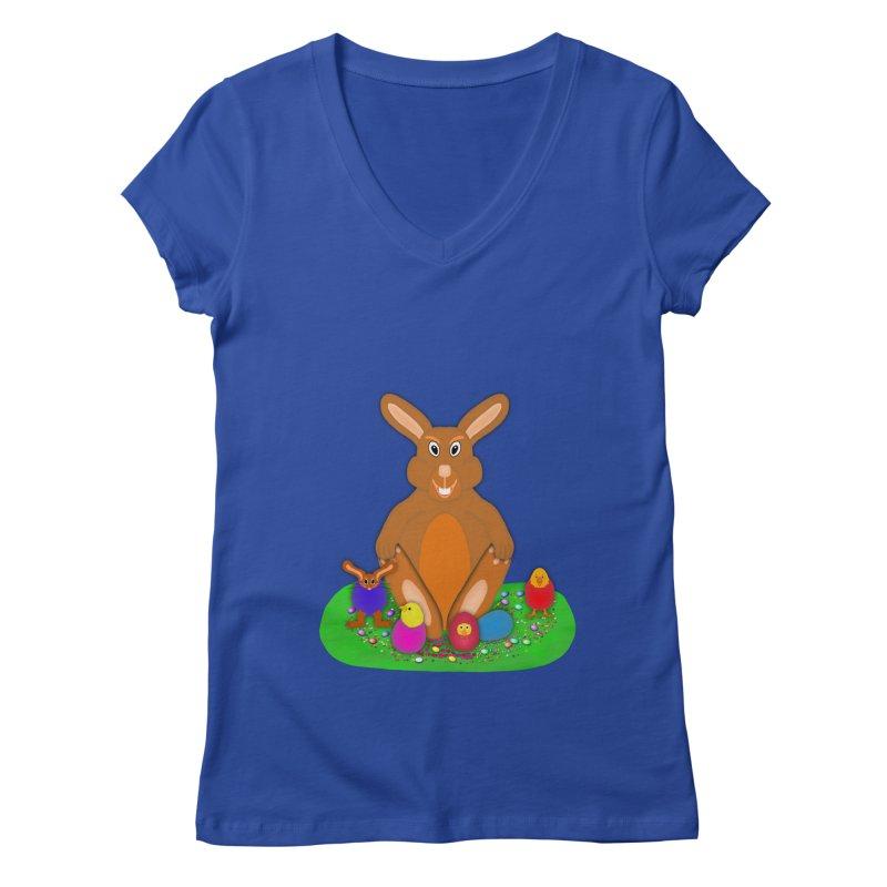 Funny Bunny Women's V-Neck by nicolekieferdesign's Artist Shop
