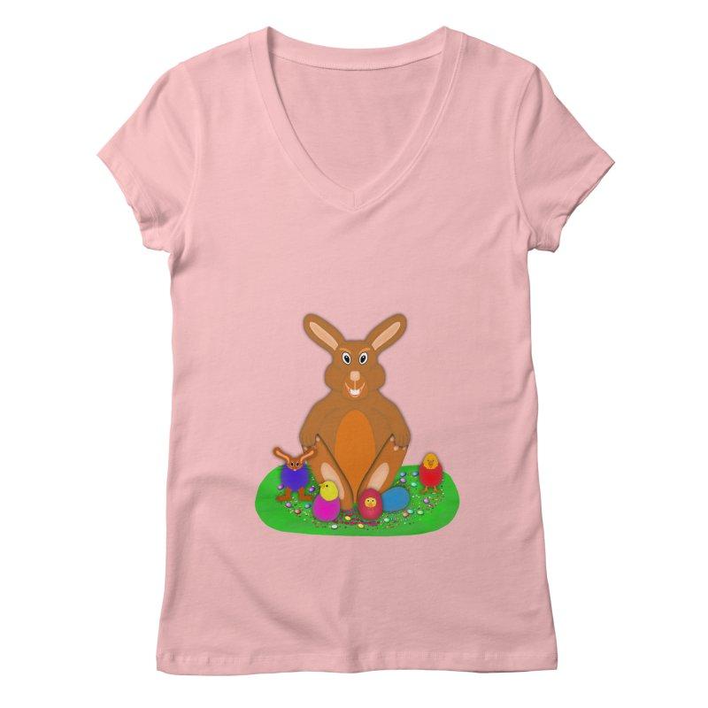 Funny Bunny Women's Regular V-Neck by nicolekieferdesign's Artist Shop