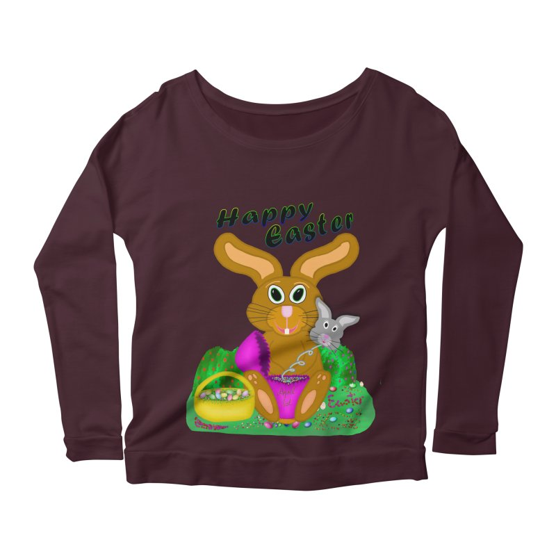 Prankster Bunny Women's Longsleeve Scoopneck  by nicolekieferdesign's Artist Shop
