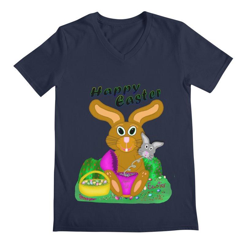 Prankster Bunny Men's Regular V-Neck by nicolekieferdesign's Artist Shop