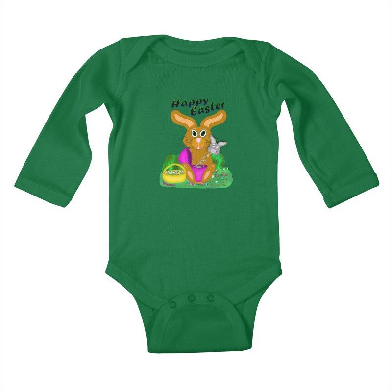 Prankster Bunny Kids Baby Longsleeve Bodysuit by nicolekieferdesign's Artist Shop
