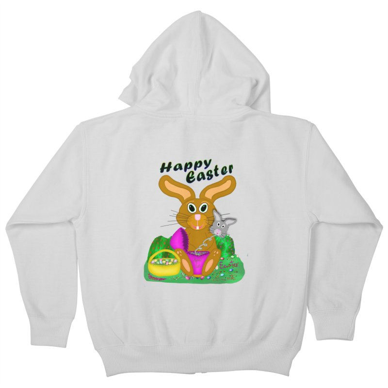 Prankster Bunny Kids Zip-Up Hoody by nicolekieferdesign's Artist Shop
