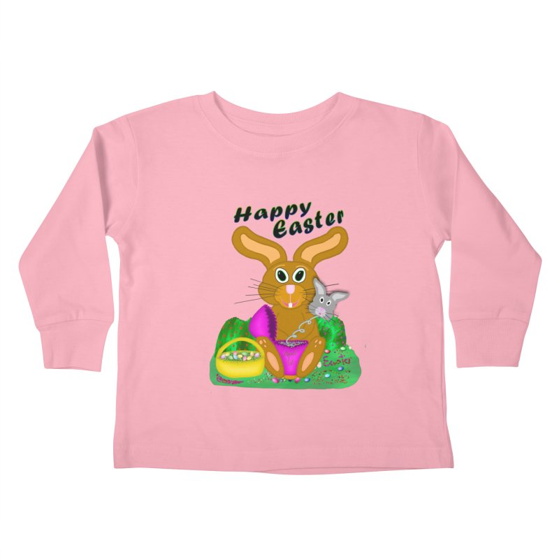 Prankster Bunny Kids Toddler Longsleeve T-Shirt by nicolekieferdesign's Artist Shop