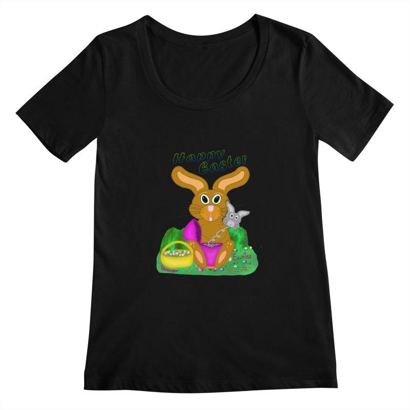 Prankster Bunny Women's Scoopneck by nicolekieferdesign's Artist Shop