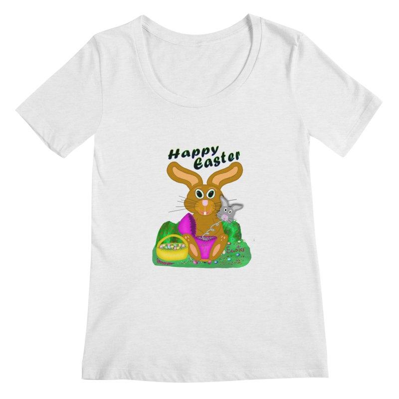 Prankster Bunny Women's Regular Scoop Neck by nicolekieferdesign's Artist Shop