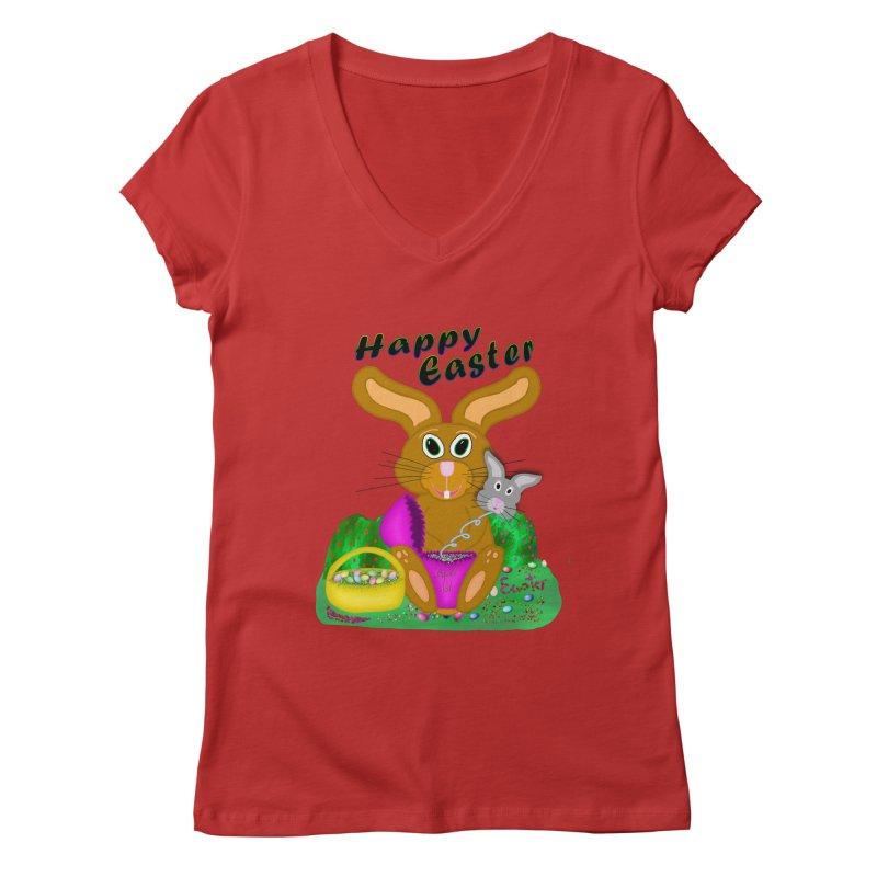 Prankster Bunny Women's V-Neck by nicolekieferdesign's Artist Shop
