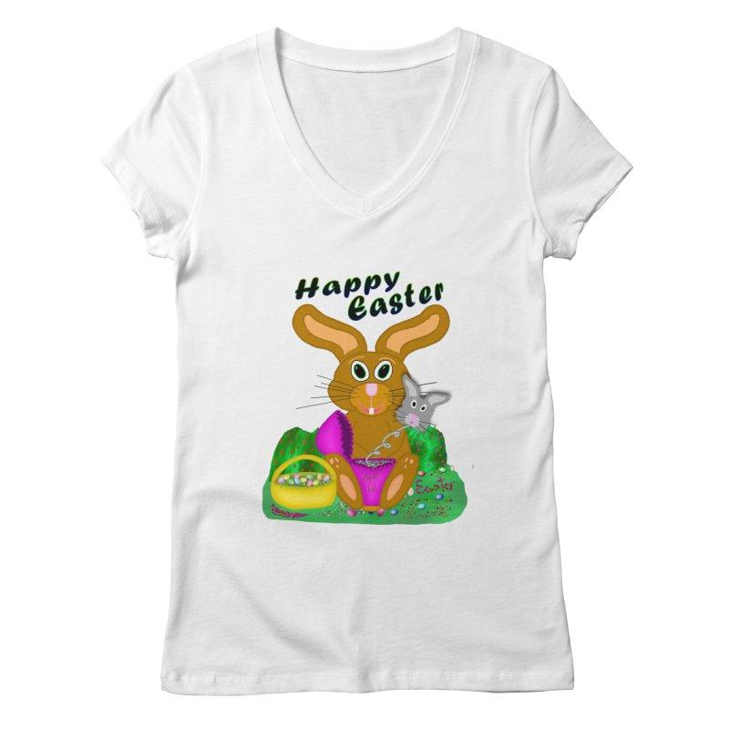 Prankster Bunny Women's Regular V-Neck by nicolekieferdesign's Artist Shop