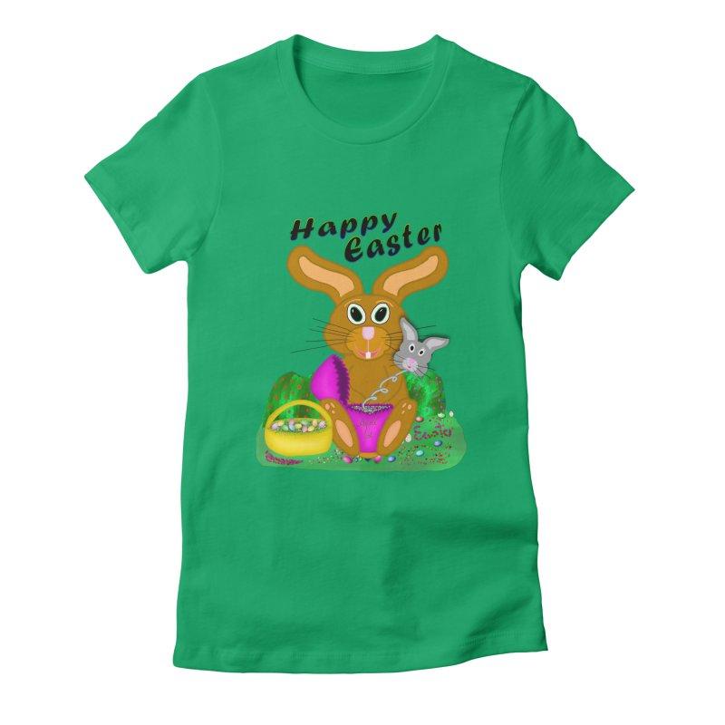 Prankster Bunny Women's Fitted T-Shirt by nicolekieferdesign's Artist Shop