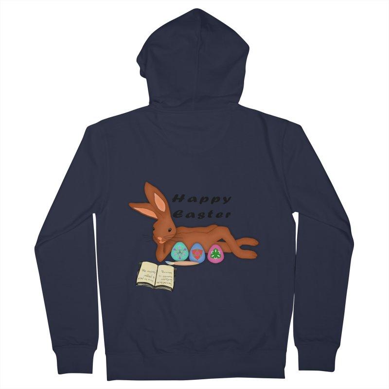 Learning Bunny Men's French Terry Zip-Up Hoody by nicolekieferdesign's Artist Shop