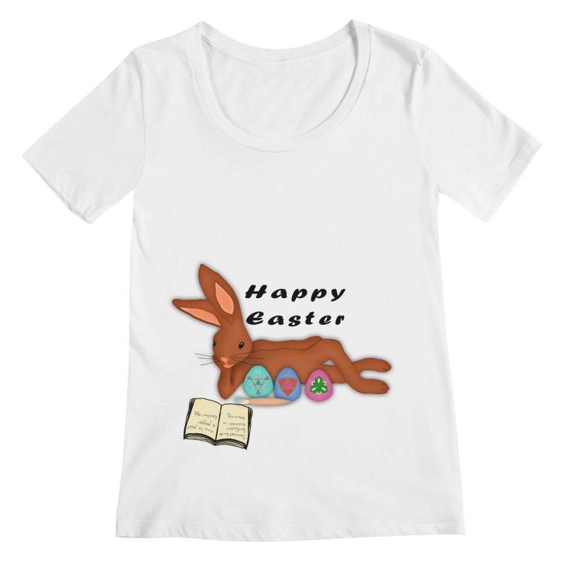 Learning Bunny Women's Scoopneck by nicolekieferdesign's Artist Shop