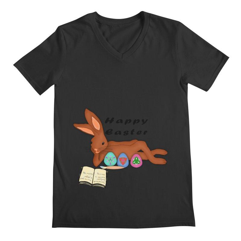 Learning Bunny Men's Regular V-Neck by nicolekieferdesign's Artist Shop