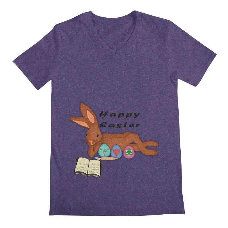 Learning Bunny Men's V-Neck by nicolekieferdesign's Artist Shop