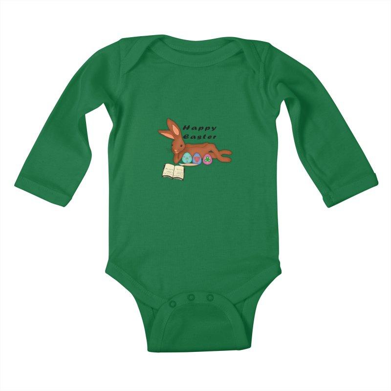 Learning Bunny Kids Baby Longsleeve Bodysuit by nicolekieferdesign's Artist Shop