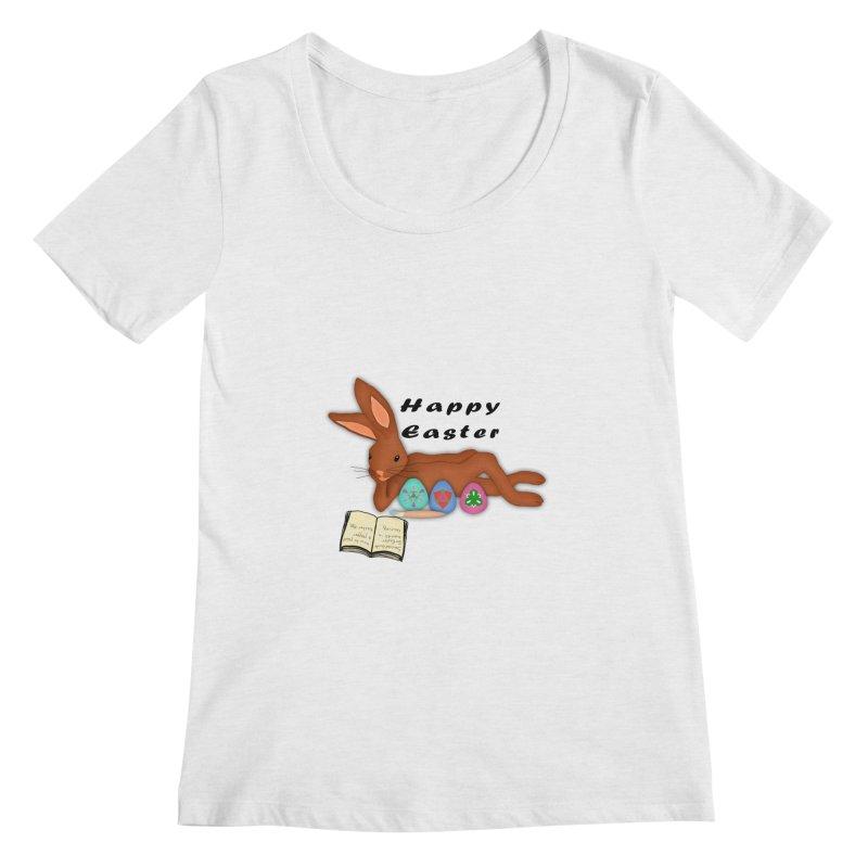 Learning Bunny Women's Regular Scoop Neck by nicolekieferdesign's Artist Shop