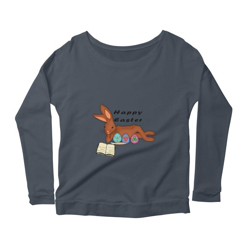 Learning Bunny Women's Scoop Neck Longsleeve T-Shirt by nicolekieferdesign's Artist Shop