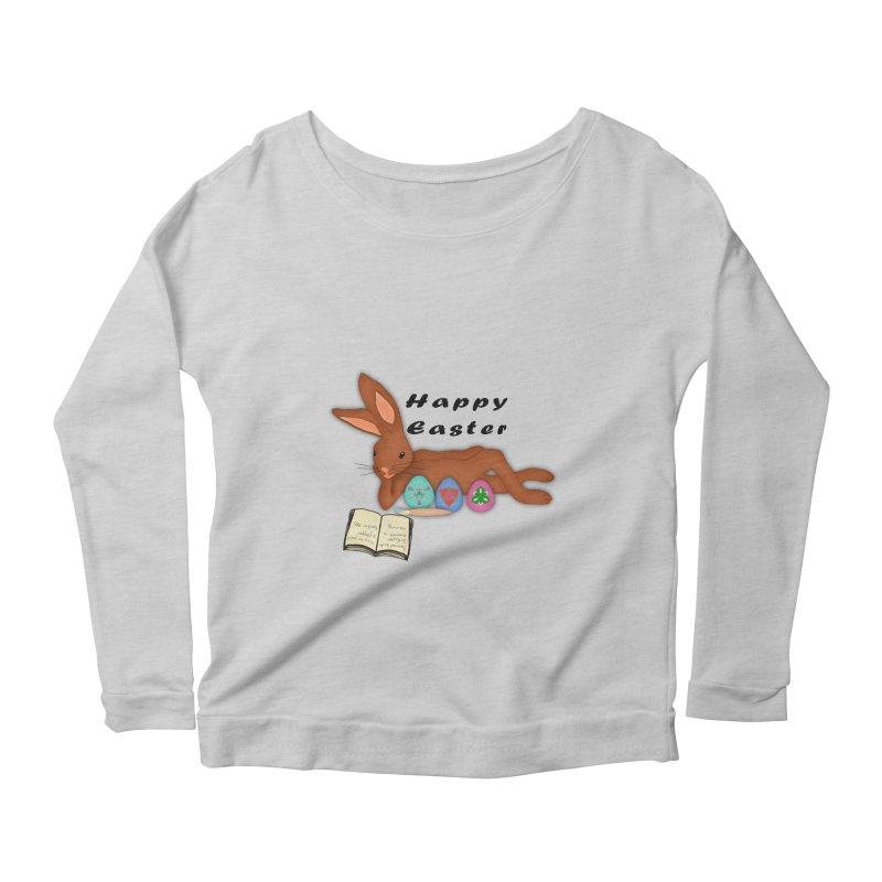 Learning Bunny Women's Longsleeve Scoopneck  by nicolekieferdesign's Artist Shop
