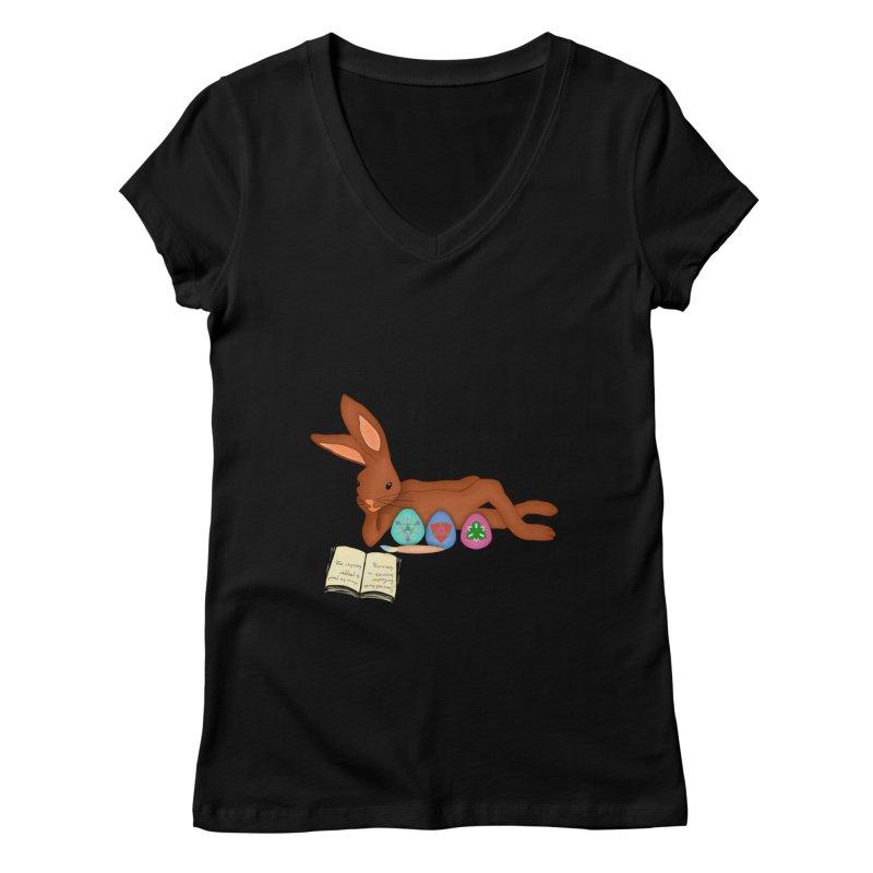 Learning Bunny Women's Regular V-Neck by nicolekieferdesign's Artist Shop