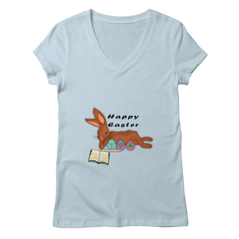 Learning Bunny Women's V-Neck by nicolekieferdesign's Artist Shop