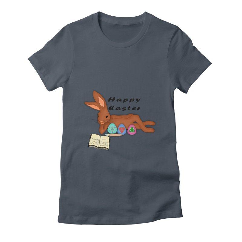Learning Bunny Women's Fitted T-Shirt by nicolekieferdesign's Artist Shop