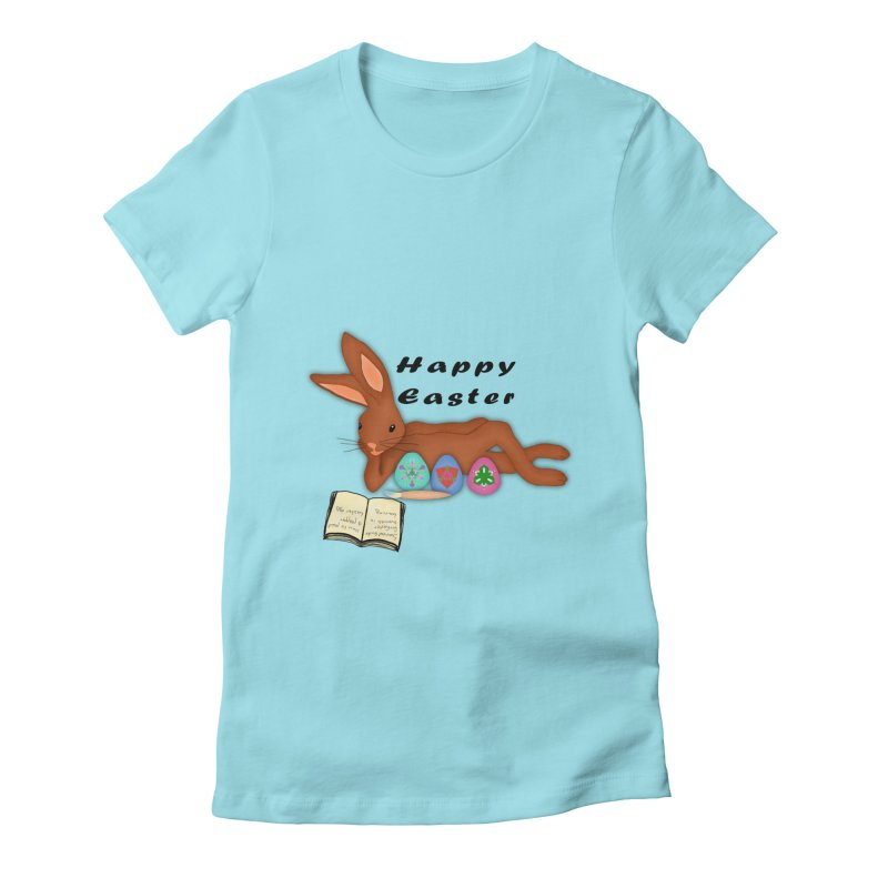 Learning Bunny Women's Fitted T-Shirt by nicolekieferdesign's Artist Shop